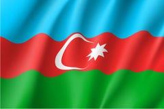 Bandera nacional de Azerbaijan, ejemplo realista del vector stock de ilustración