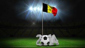 Bandera nacional de Bélgica que agita en asta de bandera con el mensaje ilustración del vector