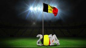 Bandera nacional de Bélgica que agita en campo de fútbol con el mensaje stock de ilustración