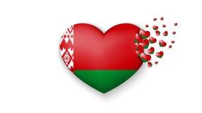 Bandera nacional de Bielorrusia en el ejemplo del corazón Con amor al país de Bielorrusia La bandera nacional de Bielorrusia vola stock de ilustración