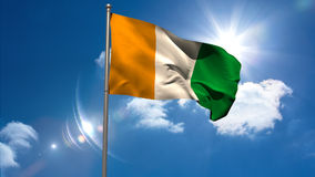 Bandera nacional de Costa de Marfil que agita en asta de bandera libre illustration