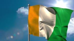 Bandera nacional de Costa de Marfil que agita en asta de bandera stock de ilustración