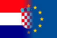 Bandera nacional de Croacia con un círculo de la UE ilustración del vector