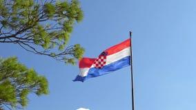 Bandera nacional de Croacia en el fondo del cielo azul de montañas y del pino verde almacen de video