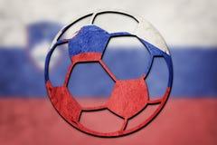 Bandera nacional de Eslovenia del balón de fútbol Bola del fútbol de Eslovenia fotografía de archivo libre de regalías