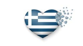 Bandera nacional de Grecia en el ejemplo del corazón Con amor al país de Grecia La bandera nacional de Grecia volar hacia fuera p libre illustration