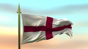 Bandera nacional de Inglaterra que agita en el viento contra el lazo inconsútil de la cámara lenta del fondo del cielo de la pues libre illustration