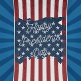 Bandera nacional de los E.E.U.U. con presidentes felices Day Text Fotos de archivo