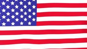 Bandera nacional de los E.E.U.U. Estados Unidos que agitan en viento almacen de video