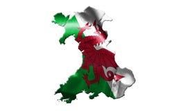 Bandera nacional de País de Gales con nombre de país en él ejemplo 3D Fotografía de archivo