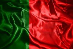 Bandera nacional de Portugal que agita en el ejemplo del viento 3D fotos de archivo libres de regalías