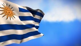 Bandera nacional de Uruguay que agita en el viento ilustración del vector