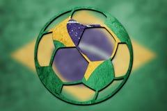 Bandera nacional del Brasil del balón de fútbol Bola brasileña del fútbol foto de archivo libre de regalías
