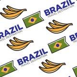 Bandera nacional del destino del viaje del Brasil y modelo inconsútil de la fruta del plátano stock de ilustración