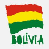 Bandera nacional del vintage de Bolivia en estilo de papel rasgado de la textura del grunge Antecedentes del Día de la Independen Fotografía de archivo libre de regalías