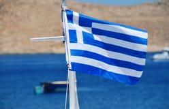Bandera nacional griega, Halki Imagen de archivo libre de regalías