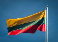 Bandera nacional lituana con el cielo azul en fondo Fotos de archivo libres de regalías