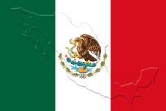 Bandera nacional mexicana con Eagle Coat Of Arms y mapa mexicano 3D Fotografía de archivo