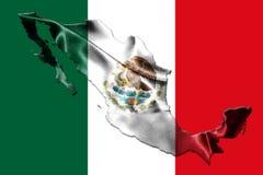 Bandera nacional mexicana con Eagle Coat Of Arms y mapa mexicano 3D Imagen de archivo libre de regalías