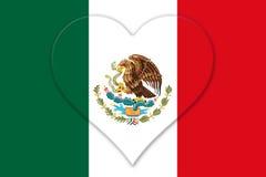 Bandera nacional mexicana con la forma de Eagle Coat Of Arms In del corazón Imagen de archivo