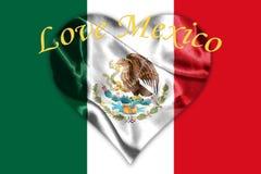Bandera nacional mexicana con la representación de Eagle Coat Of Arms 3D Imagen de archivo libre de regalías