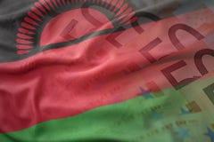 Bandera nacional que agita colorida de Malawi en un fondo de los billetes de banco del dinero del euro Imagenes de archivo