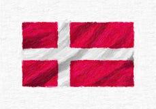 Bandera nacional que agita pintada a mano de Dinamarca, pintura de aceite aislada encendido Foto de archivo libre de regalías