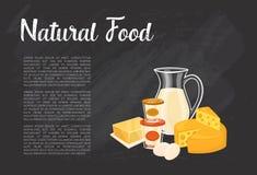 Bandera natural de la comida con la composición de la lechería libre illustration