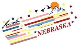 Bandera Nebraska stock de ilustración