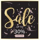Bandera negra de la venta del verano, rosada y del oro de lujo, para el cartel del descuento, venta de la moda, fondos, en vector Imagenes de archivo