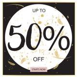 Bandera negra de la venta del verano, rosada y del oro de lujo, para el cartel del descuento, venta de la moda, fondos, en vector Fotos de archivo