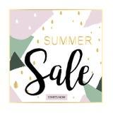 Bandera negra de la venta del verano, rosada y del oro de lujo, para el cartel del descuento, venta de la moda, fondos, en vector Imagen de archivo libre de regalías
