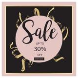 Bandera negra de la venta del verano, rosada y del oro de lujo, para el cartel del descuento, venta de la moda, fondos, en vector Fotografía de archivo libre de regalías