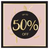 Bandera negra de la venta del verano, rosada y del oro de lujo, para el cartel del descuento, venta de la moda, fondos, en vector Fotos de archivo libres de regalías