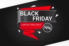 Bandera negra de la venta de viernes Foto de archivo libre de regalías