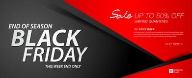 Bandera negra de la venta de viernes, anuncios, portada, vale de regalo, tarjeta del descuento, cartel de la promoción, anuncio,  stock de ilustración
