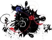 Bandera negra del grunge con el elemento floral stock de ilustración