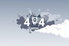 Bandera no encontrada del concepto del problema de conexión a internet del mensaje de error 404 Imagen de archivo