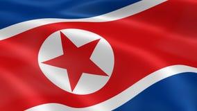 Bandera norcoreana en el viento ilustración del vector