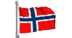 Bandera noruega que agita en el fondo blanco, animación representación 3d stock de ilustración