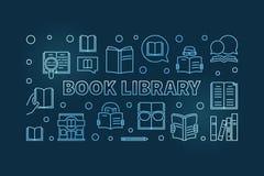 Bandera o ejemplo azul del esquema del vector de la biblioteca del libro stock de ilustración