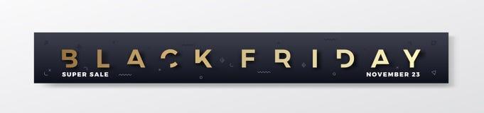 Bandera o jefe superior elegante de Black Friday Concepto reducido brillo de oro moderno de la tipografía con decorativo abstract stock de ilustración