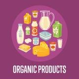 Bandera orgánica de los productos con la composición de la lechería stock de ilustración
