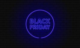 Bandera oscura del web para la venta negra de viernes Cartelera azul de neón del círculo moderno en la pared de ladrillo Concepto Fotografía de archivo