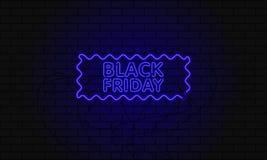 Bandera oscura del web para la venta negra de viernes Cartelera azul de neón moderna en la pared de ladrillo Concepto de publicid Imagenes de archivo