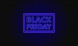 Bandera oscura del web para la venta negra de viernes Cartelera azul de neón moderna en la pared de ladrillo Concepto de publicid Imagen de archivo
