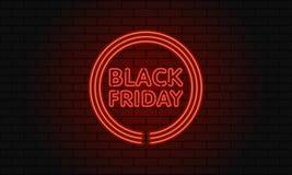 Bandera oscura del web para la venta negra de viernes Cartelera roja de neón del círculo moderno en la pared de ladrillo Concepto Imagen de archivo libre de regalías