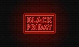 Bandera oscura del web para la venta negra de viernes Cartelera roja de neón moderna en la pared de ladrillo Concepto de publicid Foto de archivo libre de regalías