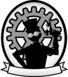 Bandera oval gris de la divisa del hombre de Steampunk de la silueta Imagen de archivo libre de regalías