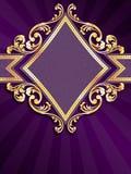 Bandera púrpura de forma diamantada vertical con el fil del oro ilustración del vector
